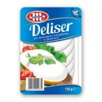 DELISER. Serek twarogowy naturalny 14% tłuszczu plastry 150 g