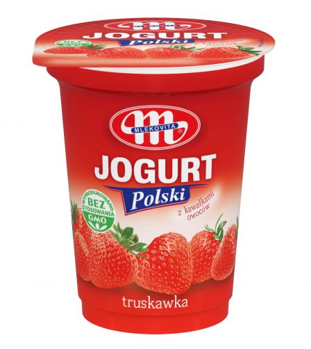 Jogurt Polski truskawkowy z kawałkami owoców 350 g