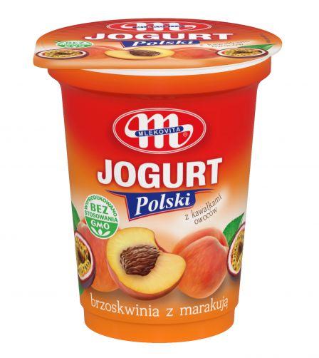 Jogurt Polski brzoskwinia z marakują z kawałkami owoców 350 g