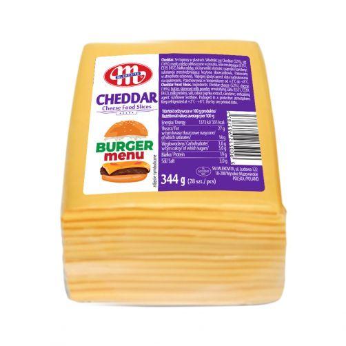 Cheddar ser topiony w plastrach 344 g