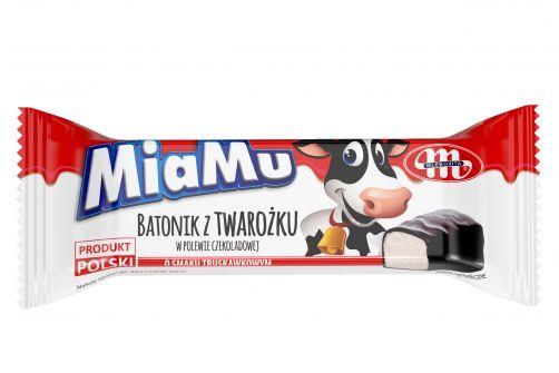 MiaMu batonik twarogowy o smaku truskawkowym w polewie czekoladowej 40 g